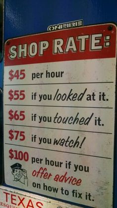 Accent décor with this Shop Rate Tin Sign. Made to hang on the wall, the tin sign measures 9 x Mechanic Shop, Mechanic Garage, Mechanic Humor, Auto Mechanic, Rat Rods, Garages, Vitrine Miniature, Garage Signs, Great Father's Day Gifts