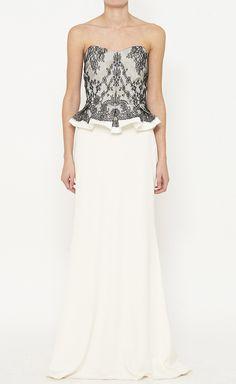 Marchesa Notte White And Black Dress