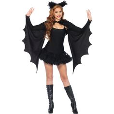 This incredible shrug will probably be your most treasured costume accessory. Perfect for a witch's dress or any outfit that would look better with the possibility of flight! Black. One size fits most