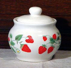 Your place to buy and sell all things handmade Kitchen Themes, Kitchen Supplies, Strawberry Patch, Strawberry Fields, Strawberry Kitchen, Strawberry Decorations, Cream And Sugar, Strawberries And Cream, Vintage Kitchen
