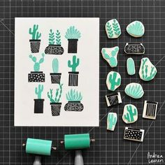 Tampons cactus / Cactus stamps by Andrea Lauren Stamp Printing, Printing On Fabric, Screen Printing, Handmade Stamps, Handmade Art, Eraser Stamp, Stamp Carving, Linocut Prints, Gravure