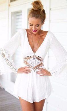 Overalls Ladies White V Neck Chiffon Elegant Jumpsuit