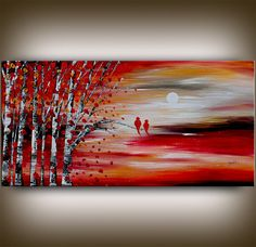 Heavy TEXTURED LARGE Oil Painting Original Painting Landscape Paintings Modern Art Sale Bird Animal Artwork painting home decor - Nandita