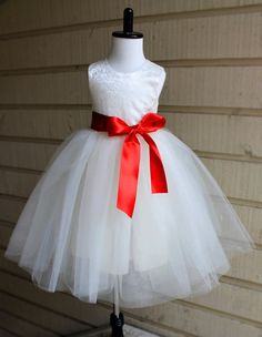 Baby Flower Girl Satin and Lace Tutu Dress by LudasBoxOfTreasures
