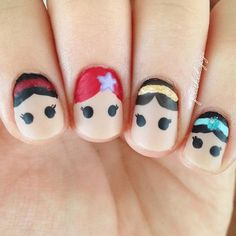 Are you looking for cute disney nail art designs Nail designs like cute Mickey Mouse, beautiful Cinderella, and icy Frozen will surely brighten up your day just by looking at your nails! Disney Nail Designs, Cute Nail Designs, Nail Designs For Kids, Princess Nail Designs, Trendy Nails, Cute Nails, Hair And Nails, My Nails, Disney Princess Nails