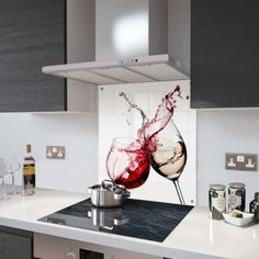 Let Your Kitchen Design Say Something About You Check Out This Fantastic Digital Print SplashbackHigh Resolution Full Colour Red and White Wine PrintWe Recommend Using Premier Range Glass Splashback Adhesive Toughened Safety Glass Contemporary Kitchen Design, Interior Design Kitchen, Glass Kitchen, Red Kitchen, Printed Glass Splashbacks, Baroque Decor, Glass Chopping Board, Kitchen Images, Kitchen Backsplash