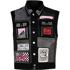 Topman Design Black Denim Sleeveless Jacket (1.040 BRL) ❤ liked on Polyvore featuring men's fashion, men's clothing, men's outerwear, men's jackets, black, mens denim jacket, mens sleeveless jacket, mens metallic jacket, mens studded leather jacket and mens leopard print jacket