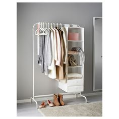 Organization Ideas cheap IKEA MULIG White Clothes rack MULIG Clothes rack IKEA Can be used anywhere in your home, even in damp areas like the bathroom and under covered balconies. Open Wardrobe, Wardrobe Rack, White Rooms, White Bedroom, Ikea Mulig, Coat Hanger Stand, Clothes Stand, Rack For Clothes, Clothes Rail Ikea