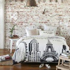 behang oude stenen muur - achterwand bed | #myikeabedroom - waar, Deco ideeën