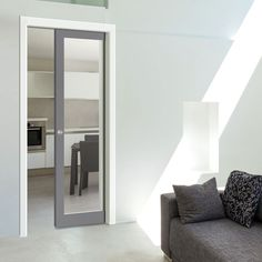All pocket cassettes may be kerbside delivery only and not in to the home. doors are delivered separately. All doors can slide open left or right, you decide when installing them, delivery will be from two separate suppliers. Pocket Door Frame, Glass Pocket Doors, Grey Interior Doors, Grey Doors, Internal Sliding Doors, Sliding Door Hardware, Dark Grey Kitchen, Door Fittings, Flush Doors