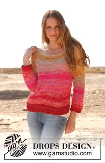 Knitted DROPS jumper in garter st with dropped sts and ¾ sleeves in 2 strands Safran. Size: S - XXXL. ~ DROPS Design