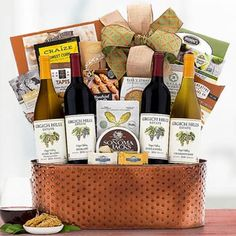 Wine Gift Baskets - Executive Basket Wine Gift Baskets, Gourmet Gift Baskets, Gourmet Gifts, Lindt Truffles, Lindt Lindor, Honey Crunch, Cheese Wedge, Ripe Peach, Tomato And Cheese