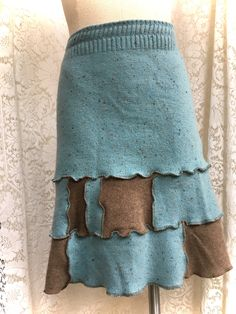 Cashmere Upcycled Sweater Skirt, Patchwork in Brown and Tweedy Aqua, Medium Women, Recycled Clothing, #445 by danamurphydesigns on Etsy