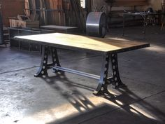 #ARTmetal © ideas. www.aias.se A Frame Dining Table by Vintage industrial  The table base is made out of heavy gauge steel and aged to perfection. It has two connecting rods with large nuts that support and join the bases. The top is made of solid 1.75″ thick hardwood (or plate steel). This table is built to last several lifetimes, and is made in America at our shop in downtown Phoenix.  www.retro.net/shop/a-frame-dining-table-desk/