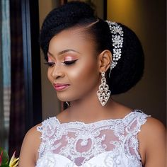 Natural Hair Bride-To-Be? Check out Hair Inspiration For The Natural Hair Bride - Wedding Digest Naija Bridal Hair Updo, Wedding Hair And Makeup, Hair Makeup, Black Bridal Makeup, Natural Wedding Hairstyles, Bride Hairstyles, Hairstyle Ideas, Black Hairstyles, Pretty Hairstyles