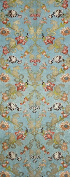 Panel With Design of Floral Meander France, circa 1725-1760 Textiles; panels Silk brocade on patterned silk ground