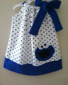 Items similar to Sesame Street Cookie Monster pillowcase dress on Etsy Sewing Kids Clothes, Sewing For Kids, Baby Sewing, Doll Clothes, Toddler Dress, Baby Dress, Little Girl Dresses, Little Girls, Pillowcase Dress Pattern