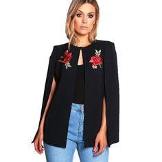 Plus Size Floral Embroidery Cloak