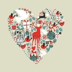Ícones DE Natal Numa Base DE Cartão DO Amor Coração Ilustração Vetorial Em Camadas Para A Manipulação Fácil E Personalizada Para clip arts - ClipartLogo.com