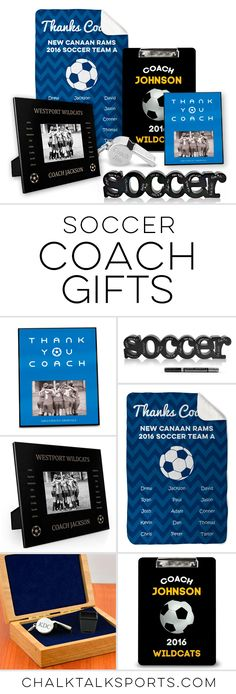 Soccer coach gift ideas! Unique gift ideas that you can personalize for a special coach gift. Great for end of season awards and to say thank you coach.