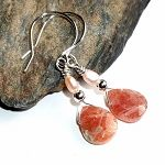 Sunstone and Pearl Earrings