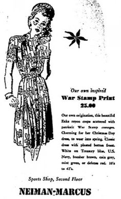 Neiman Marcus ad from WWII.