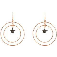 Latelita London - Diamond Double Hoop Star Earring (13250 TWD) ❤ liked on Polyvore featuring jewelry, earrings, black and gold jewelry, sparkly earrings, diamond earrings, star earrings and diamond jewelry