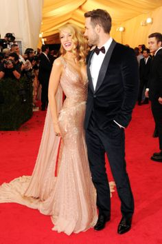 Blake Lively & Ryan Reynolds in Gucci | Met Gala 2014 Red Carpet Dresses - Best Red Carpet Fashion Met Ball 2014 - Harper's BAZAAR