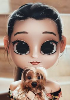 artoon, Portrait, Digital Art, Digital Drawing, Digital Painting, Character Design, Drawing, Big Eyes, Cute, Illustration, Art, Girl, Doll, Hair, Dog, Pet, Doggo