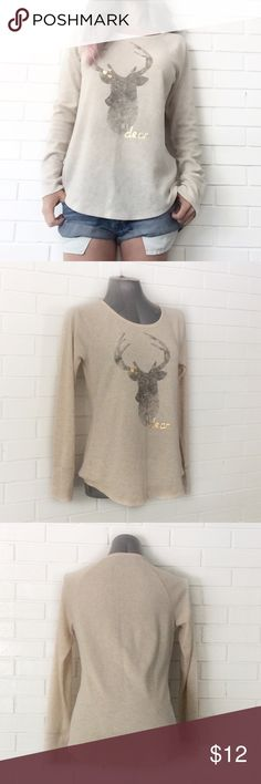 """BOGO FREESonoma My Deer Thermal Top ♦️️Buy any item at list price to receive another item FREE. Please ask me to create your bundle (lesser value item will be free)♦️  ••Very good condition-no flaws••  •Round neck •Long sleeves  •Deer graphic w My Deer text •Cotton/polyester/spandex •M  Chest: 18.5"""" (laying flat) Length: front: 25""""/26""""  •NO TRADE/HOLD  •YES BUNDLES   •PLEASE ASK QUESTIONS & READ DESCRIPTIONS. Measurements and sizing recommendations are for guidance purposes only. I cannot…"""