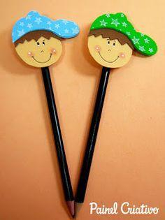 AMIGA DA EDUCAÇÃO. Kids Crafts, Foam Crafts, Easy Crafts, Diy And Crafts, Arts And Crafts, Classroom Birthday, Classroom Crafts, Pencil Crafts, Felt Kids