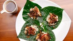 Deep Fried Barramundi on Betel Leaf and Sticky Sauce