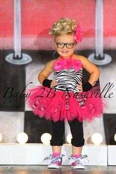 Girls Pageant Tutu Set in Fuchsia Zebra sized by Baby2BNashville, $75.00