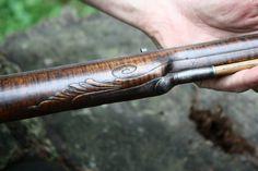 Contemporary Makers: Ian Pratt Rifle and Maryellen Pratt Bag with Tim Crosby Horn for Alan Hoeweler Percussion Cap, Flintlock Rifle, Black Powder Guns, Longhunter, Powder Horn, Long Rifle, Firearms, Shotguns, Mountain Man