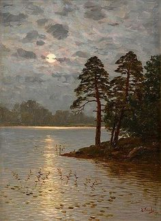 View MOONLIGHT By Eugen Taube; Oil on board; Access more artwork lots and estimated & realized auction prices on MutualArt. Aesthetic Painting, Aesthetic Art, Nocturne, Moonlight Painting, Beautiful Moon, Moon Art, Ciel, Beautiful Landscapes, Painting Inspiration