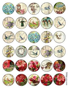 1.5 and 2 inch circle images round Vintage Printable by 300dpi