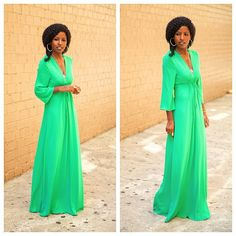folake kuye huntoon in a green Cinched waist maxi dress... Perfection!!!