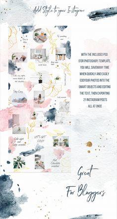 Instagram Winter Watercolor Template by SpringArtsShop on @creativemarket Insta Layout, Instagram Feed Layout, Instagram Grid, Instagram Design, Instagram Story Template, Instagram Posts, Instagram Templates, Winter Instagram, Instagram Tips
