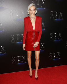 Cara Delevingne's outfit is fit for a superhero who needs to hit the red carpet