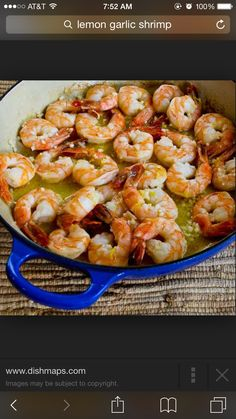 Lemon shrimp: 1. Raw shrimp no shells or tails size 21-40 or larger 2. 2 Lemons 3. Salt and pepper 4. Tony Chachere's or similar seasoning mix 5. Stick of butter 6. Rice (I use the Success boil-in-bag rice, takes 10-15 min; start water to boil before starting shrimp so rice can be boiling while shrimp is in oven) - preheat oven to 350 - rinse shrimp and put in a bowl - sprinkle Tony Chachere's or other seasoning (1-2 teaspoons) over shrimp and mix in bowl - set aside - in shallow baking pan…