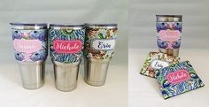 Personalized Sleeve to Personalize Yeti or Similar 30 oz and 20 oz Tumblers!,$9  Vibrant Two Sided Designs!  Antler, Floral and Whimsical Designs!,JANE