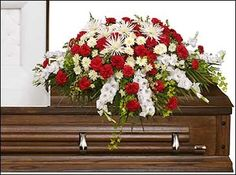 GRACEFUL RED & WHITE CASKET SPRAY  Funeral Flowers in Boonville, IN | DECKER'S FLOWERS & GIFTS