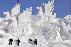 China's annual Harbin International Ice and Snow Sculpture Festival. Visitors endure sub-zero temperatures to take in the city's massive ice and snow-carved winter wonderland