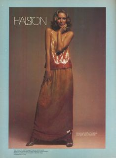 Karen Bjornson for Halston, photographed by Tracy for Playgirl, 1974