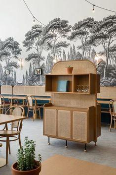 When The Art Deco Trend Meets Provence Restaurant Furniture, Restaurant Interior Design, Cafe Interior, Art Deco Furniture, Furniture Design, Cheap Furniture, Studio House, Muebles Art Deco, Tropical Wall Decor