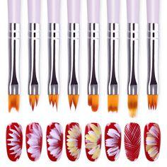 Nail Art Gradient Design Acrylic Brush Painting Flower Uv Gel Pen Manicure Tool