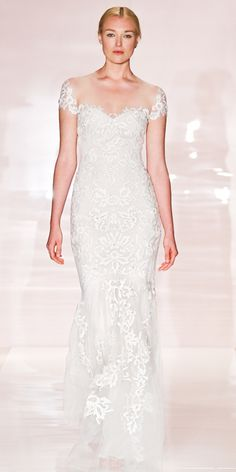 Reem Acra, embroidered illusion cap sleeve gown with low flare skirt detail