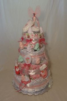 Pretty Rose Girl Diaper Cake Beautiful Rosette Washcloths Four Tiers Swirl Style Baby Shower Girly Bows Pink Tall Beautiful Birds Mary Janes - pinned by pin4etsy.com