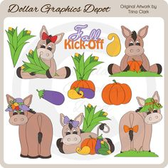 Fall Donkeys - Clip Art Collection - Only $1.00 at DollarGraphicsDepot.com : Great for printable crafts, scrapbook pages, web graphics, autumn greeting cards, autumn window decals, gift boxes / bags, gift tags / labels, candy bar wrappers, cupcake toppers, iron-on transfers, and much more!