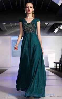 Beading Chiffon V Neck Cap Sleeves Dark Green Prom Dress@3.jpg (750×1200)